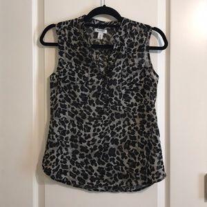 NWOT Old Navy Black Leopard semi sheer blouse XS